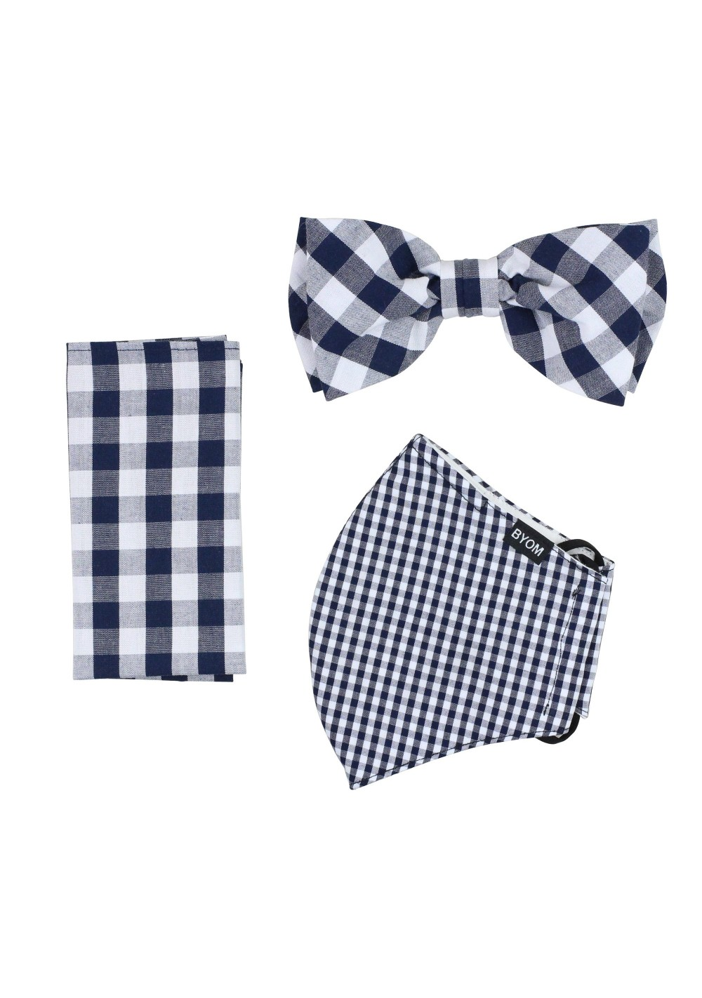 Navy Gingham Check Mask and Bow Tie Set