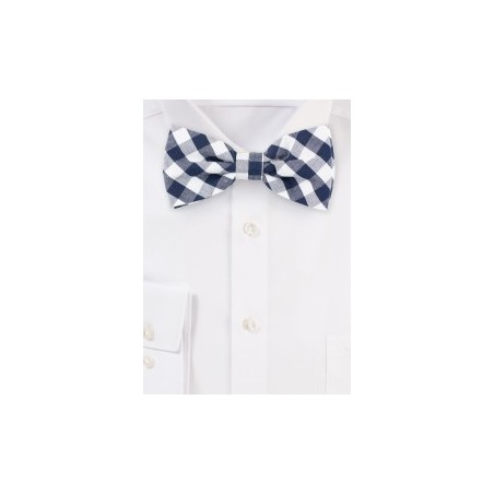 Navy Gingham Check Bow Tie