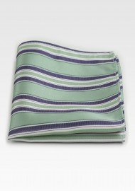 Sage and Silver Striped Pocket Square