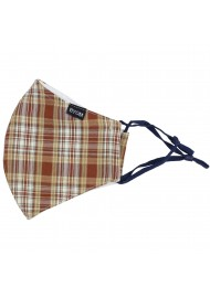 Autumn Check Mask in Navy, Beige, and Brown Flat