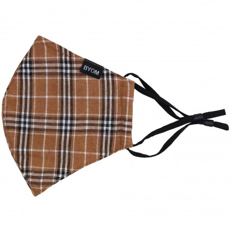Autumn Check Mask in Brown and Burnt Orange Flat