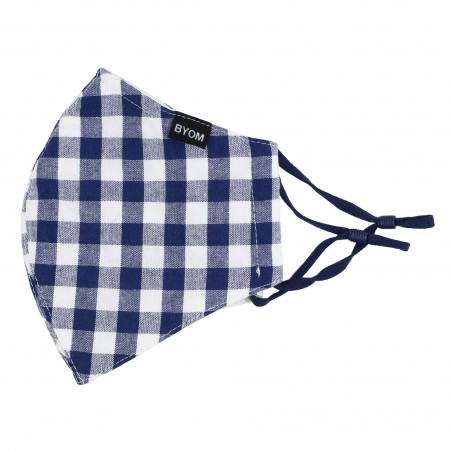 Gingham Check Filter Mask in Navy and White Flat