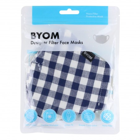 Gingham Check Filter Mask in Navy and White in Mask Bag