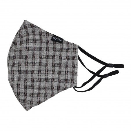 Beige, Gray, and Brown Checkered Filter Mask Flat