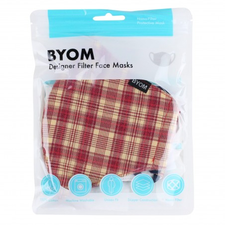 Red and Cream Plaid Mask in Bag