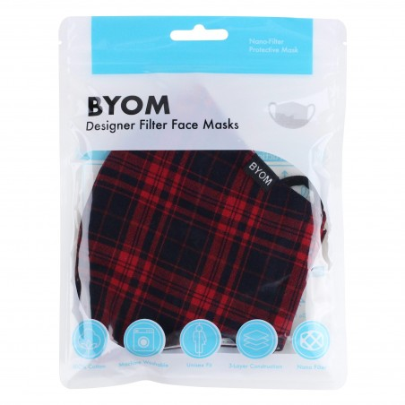 Punk Rock Tartan Face Maks in Black and Red in Mask Bag