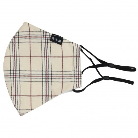 Linen and Brown Plaid Mask Flat
