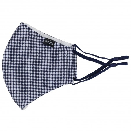 Textured Gingham Check Adjustable Face Mask in Navy and White Flat