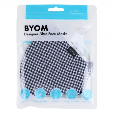 Textured Gingham Check Adjustable Face Mask in Navy and White in Bag