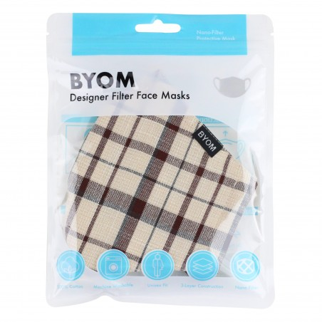 Adjustable Filter Face Mask in Fall Plaid in Bag