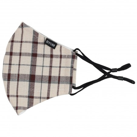 Adjustable Filter Face Mask in Fall Plaid Flat
