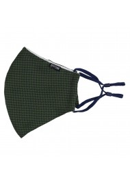 Hunter Green and Black Houndstooth Check Mask Flat