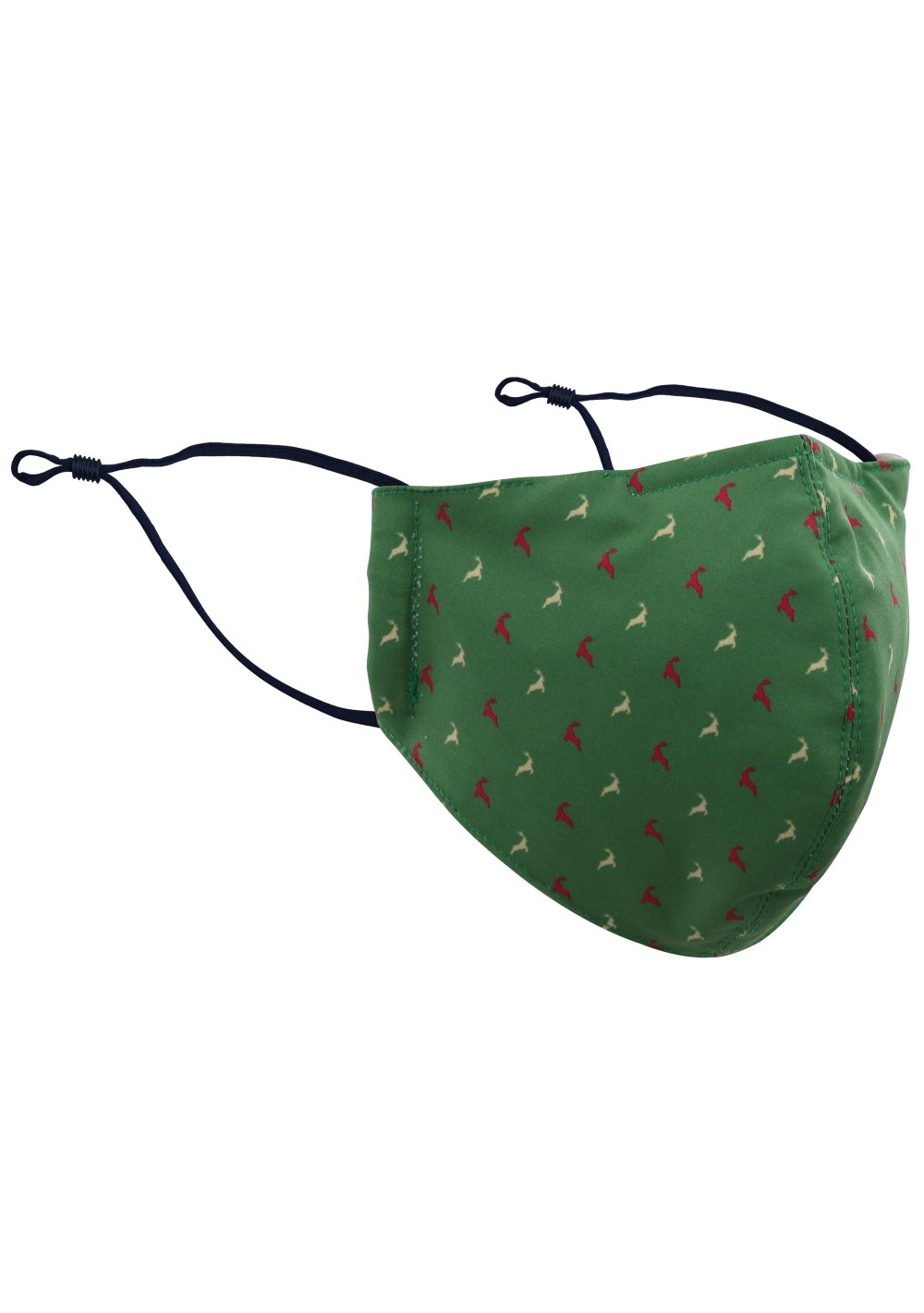 Dark Green Face Mask with Jumping Reindeer