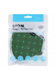 Dark Green Face Mask with Jumping Reindeer in Bag
