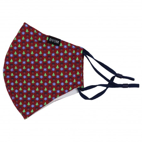 Christmas Print Face Mask in Cherry Red Flat