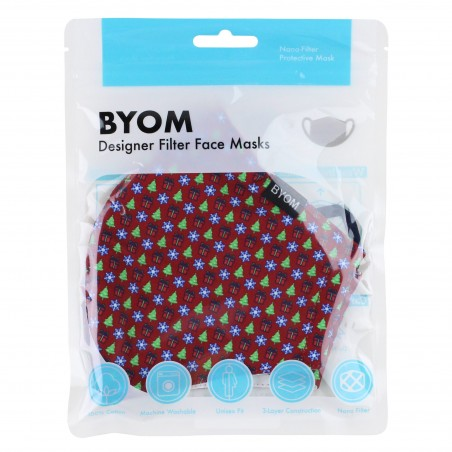 Christmas Print Face Mask in Cherry Red in Bag