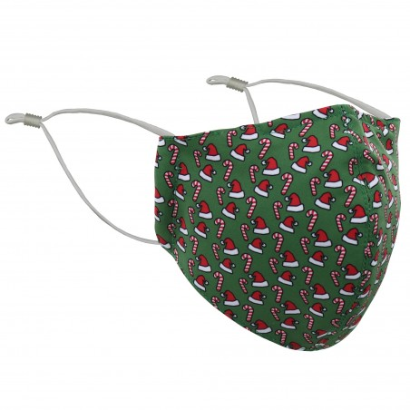 Green and Red Santa Hat and Candy Cane Mask