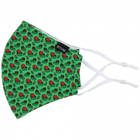 Bright Green Elf Print Face Mask Flat