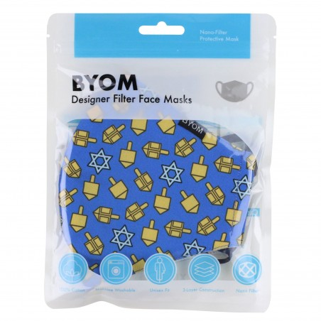 Dreidel Print Face Mask in Blue and Gold in Bag