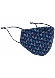 Christmas Tree Print Face Mask in Blue and Teal