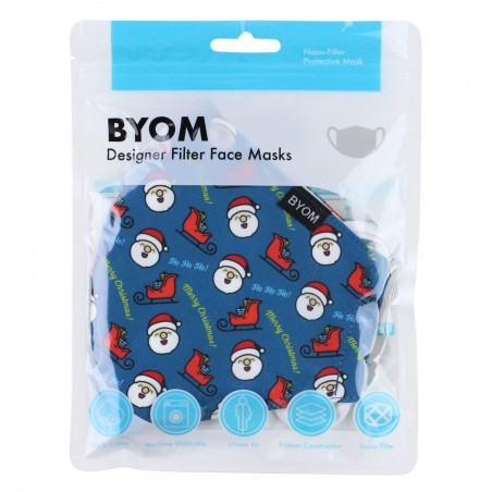 HoHoHo Face Mask in Teal Blue in Bag