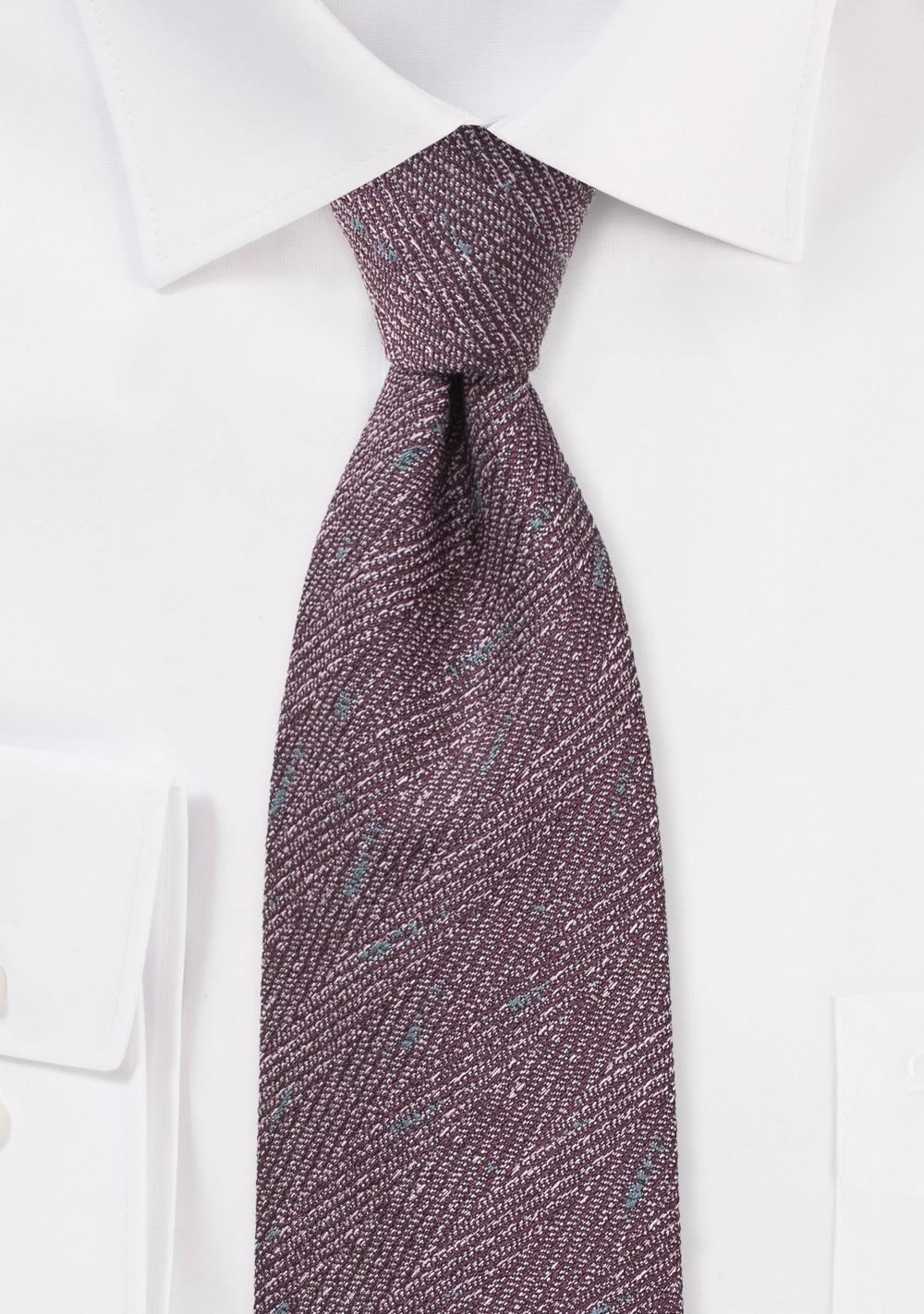 Herringbone Wool Tie in Winter Grape