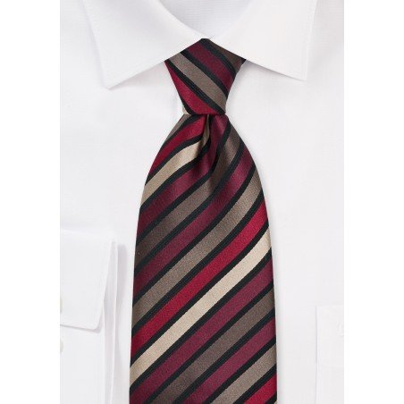 Brown and Burgundy Striped Tie