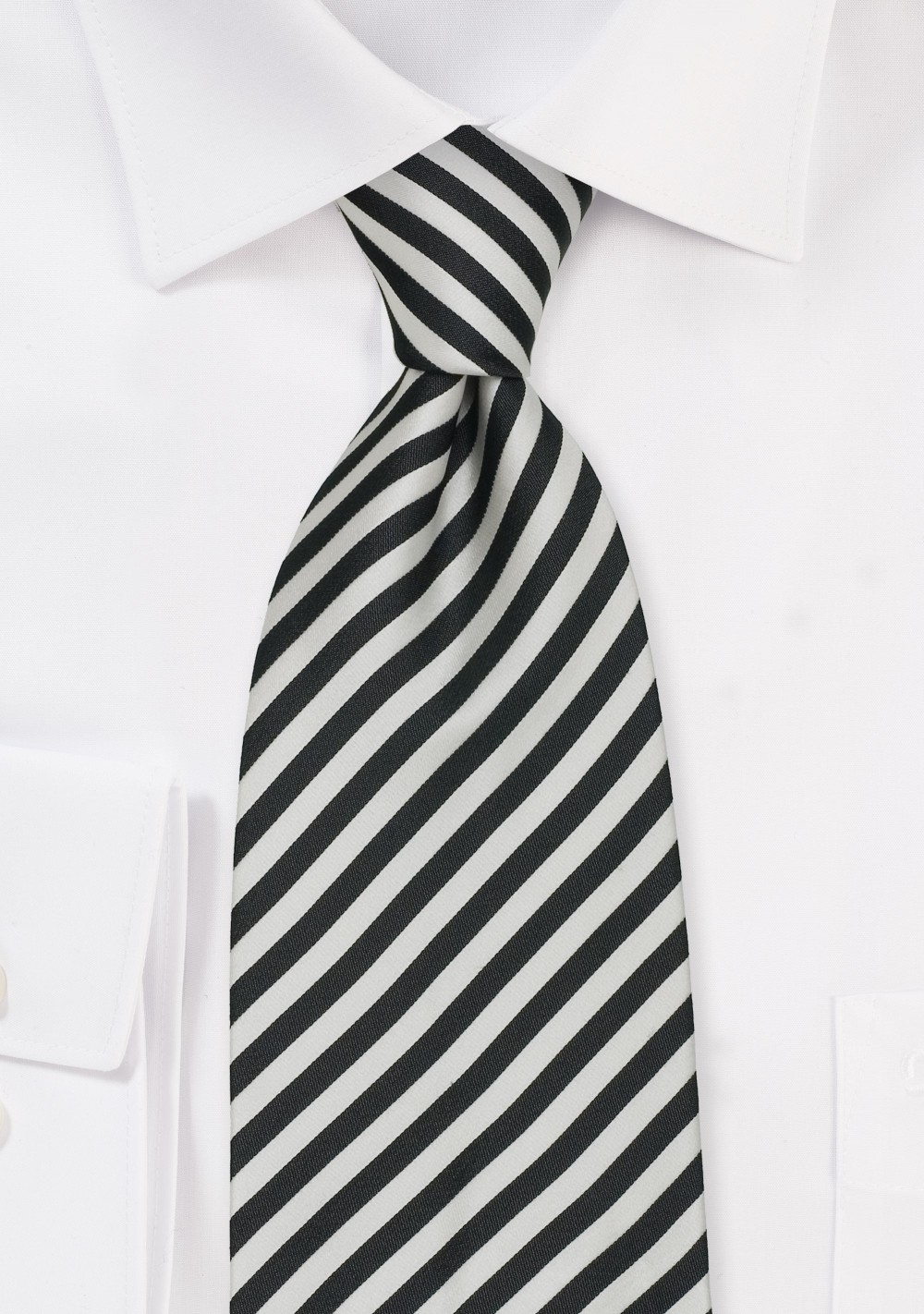 Striped Tie in Charcoal-Gray and White