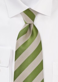 Extra Long Fern Green and Tan Striped Tie