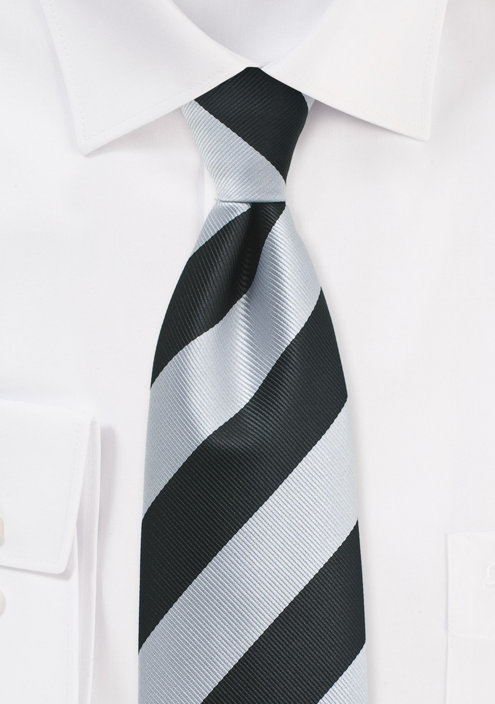 Elegant Silver and Black Repp Striped Tie