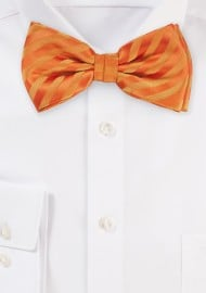 Bright Orange Striped Pattern Bow Tie