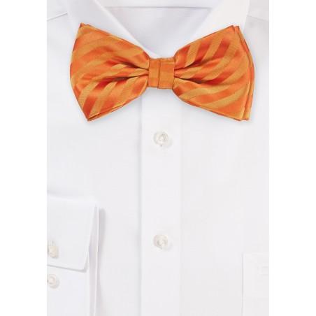 Bright Orange Striped Pattern Bow Tie
