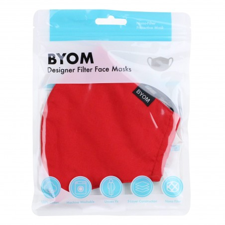 Solid Red Cotton Filter Mask in Bag