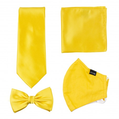 Bright Sun Yellow Tie and Mask Set