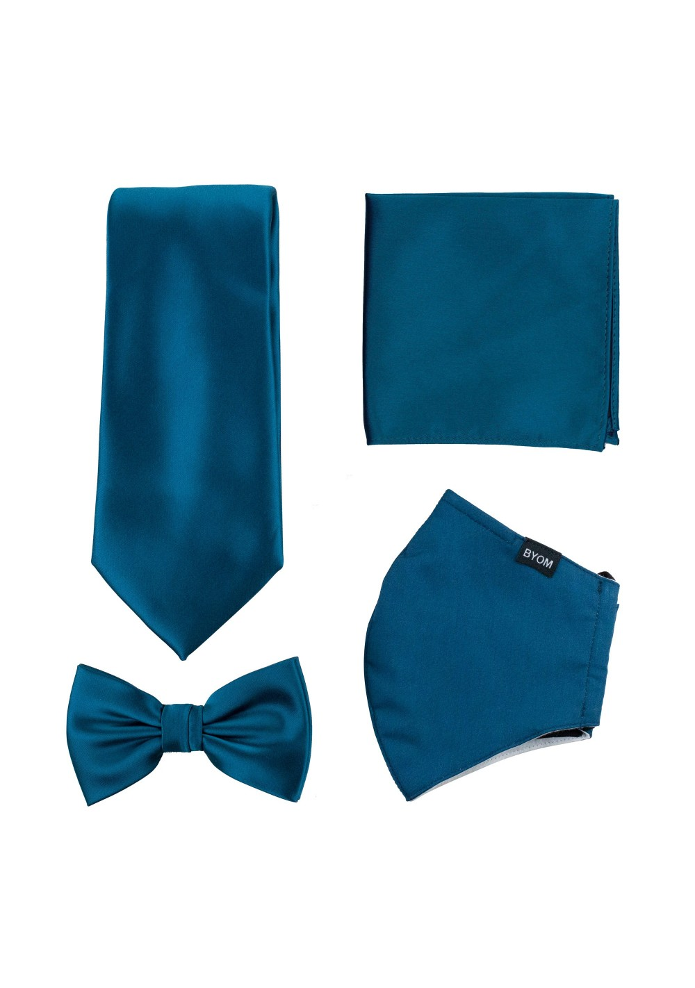 Teal Blue Mask and Tie Set