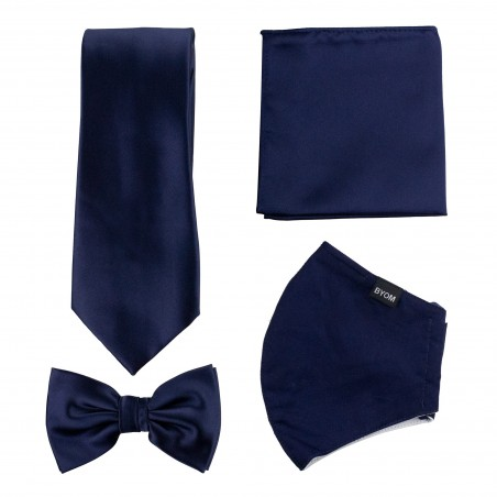 Solid Navy Mask and Tie Set