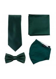 Dark Green Mask and Tie Set