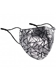 Geo Print NYE Mask in Black and Metallic Silver