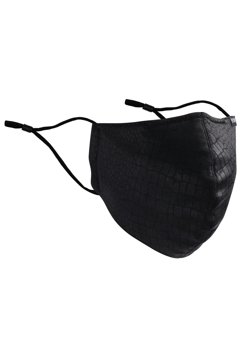 Croc Print Cotton Mask in Black