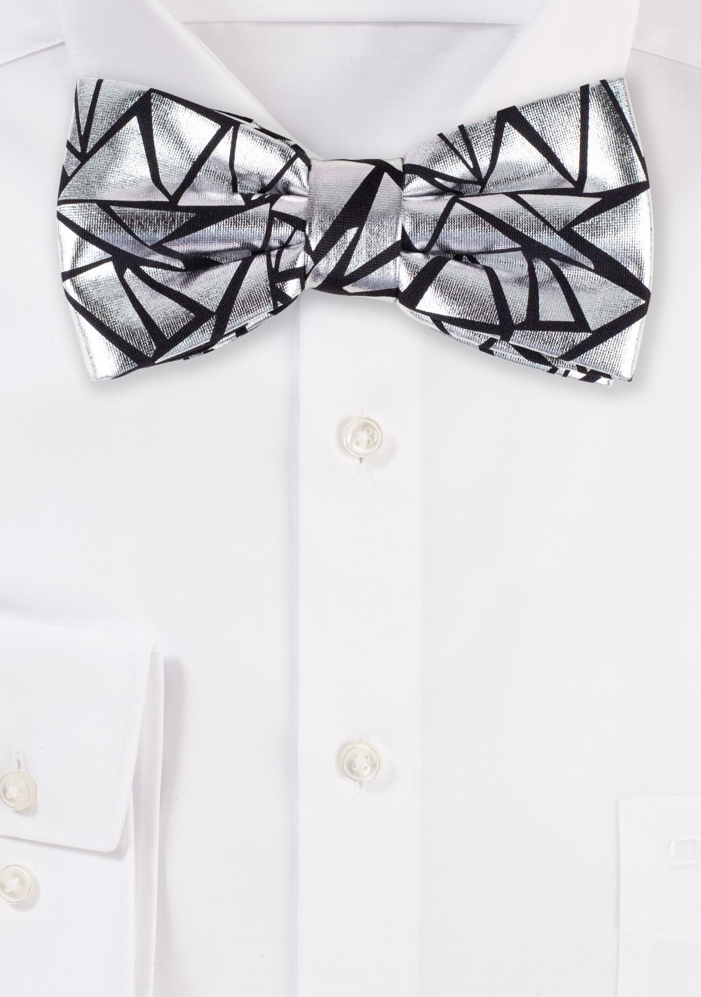 Designer Bow Tie in Black and Metallic Silver