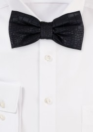 Croc Print Bow Tie in Black