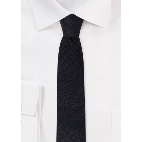 Crocodile Print Skinny Tie in Black
