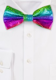 Glitter Rainbow Mens Bow Tie