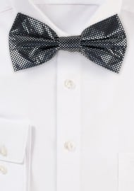NYE Designer Bow Tie in Metallic Silver and Black
