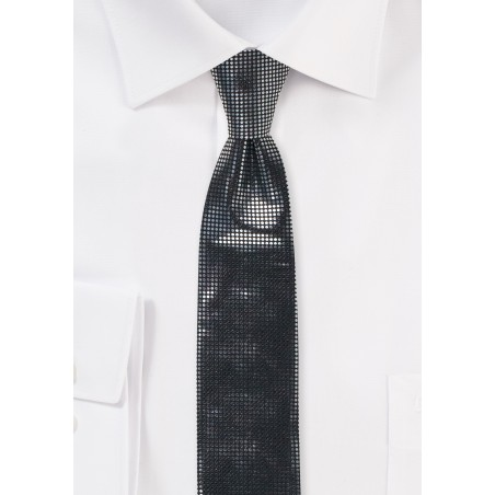 Black Skinny Tie with Metallic Dots