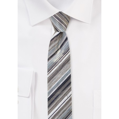Metallic Striped Tie in Rosegold and Platinum