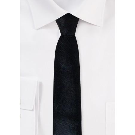 Skinny Black Tie in Faux Leather Look