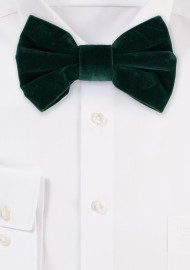 Large Butterfly Velvet Bow Tie in Hunter Green