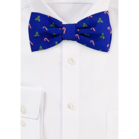 Royal Blue Bow Tie in Christmas Print