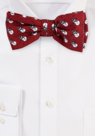 Cherry Red Bow Tie with Snowman Print